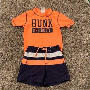 24 month swim trunk/shirt combo